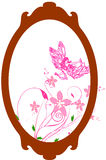 Oval frame. With pink floral Stock Photography