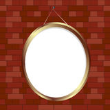 Oval frame. Oval empty frame nailed on brick wall, no mesh or transparencies Royalty Free Stock Image