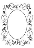 Oval frame. Oval decorated black-white frame Royalty Free Stock Photo