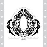 Oval Frame Between Abstract Wreath With Winding Ribbons On White. Oval Frame Between Abstract Wreath With Winding Ribbons. Vintage Label With Coat of Arms Royalty Free Stock Image