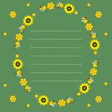 Oval frame with bees, honeycombs and sunflowers on a green background. Dotted line, place for text. Vector blank. Vector blank. Oval frame with bees, honeycombs stock illustration