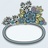 Oval frame with blue flowers Royalty Free Stock Photo