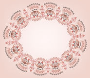 Oval frame with burgundy tones in oriental style. On a beige background Stock Photo