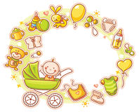 Oval Frame with Cartoon Baby. In a baby carriage and lots of baby things Stock Photo