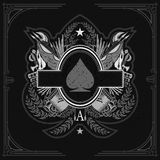 Oval frame in center of vintage weapon and military elements inside of ace of spades form. Military design playing card element. White on black royalty free illustration