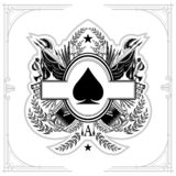 Oval frame in center of vintage weapon and military elements inside of ace of spades form. Military design playing card element bl. Oval frame in center of stock illustration