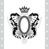 Oval Frame In Center Between Vintage Weapons And Ribbon on white. Oval Frame In Center Between Vintage Weapons And Ribbon. Vintage Label With Coat of Arms Royalty Free Stock Image