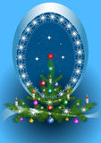 Oval frame with the Christmas tree on blue background. Oval frame with garlands of snowflakes with the Christmas tree on blue background Royalty Free Stock Photo