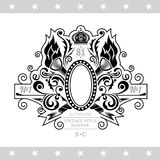 Oval Frame With Cross Torch And Floral Pattern On White. Oval Frame With Cross Torch And Floral Pattern. Vintage Label With Coat of Arms Isolated On White Stock Photography