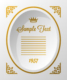 Oval frame with crown. Oval vintage retro frame with gold crown Stock Photography