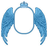 Oval frame with crown and wings Stock Image