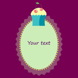 Oval frame with cupcake template for invitation, postcard Stock Images