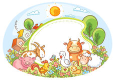 Oval Frame with Farm Animals. Houses, trees and flowers Royalty Free Stock Images
