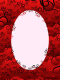 Oval frame with floral elements in red hues Royalty Free Stock Photo