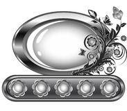 Oval frame with flower ornament Royalty Free Stock Image