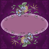 Oval frame with flowers Royalty Free Stock Photography