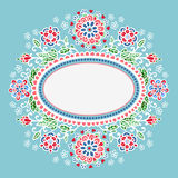 Oval frame with flowers. Stock Photography