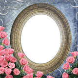 Oval frame   with  flowers Stock Photography