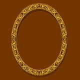 Oval frame gold color with shadow. On brown background Royalty Free Stock Photos