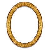 Oval frame gold color with shadow Stock Images