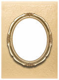 Oval frame on golden wallpaper Stock Images
