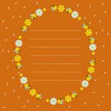 Oval frame with honeycombs, bees, flowers. Orange background with flying petals. Dotted line, place for text. Vector illustration vector illustration
