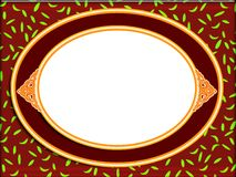 Oval frame illustration. Illustration of an oval frame on a red and green background royalty free stock images