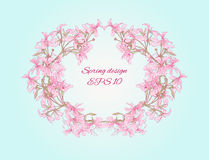 Oval frame made of romantic flowers Stock Photography