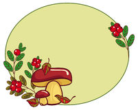 Oval frame with mushrooms and cranberries. Raster clip art Stock Photo
