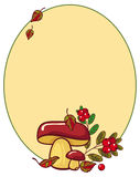 Oval frame with mushrooms and cranberries. Raster clip art Stock Photos