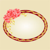 Oval frame with pink hibiscus festive background vector Stock Images