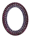 Oval frame with purple gems on the white background Royalty Free Stock Images