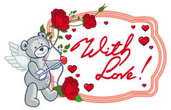 Oval frame with red roses, teddy bear, looks like a Cupid Stock Images
