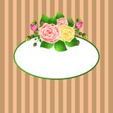 Oval frame with roses Royalty Free Stock Photos