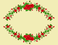Oval frame with roses Stock Photos