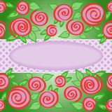 Oval frame with roses Royalty Free Stock Photography