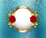 Oval frame with roses Royalty Free Stock Image