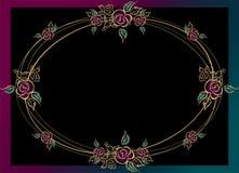 Oval frame . Roses. Gold. Vintage. Vector illustration. royalty free illustration
