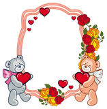Oval frame with  roses and two teddy bears holding heart. Stock Photo