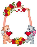 Oval frame with  roses and two teddy bears holding heart. Stock Image