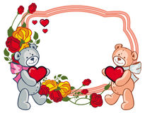 Oval frame with  roses and two teddy bears holding heart. Stock Photos