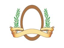 Oval frame and scroll. Frame with blank scroll and leaves Royalty Free Stock Image