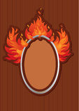 Oval frame with spurts of flame. On stripe dark background Royalty Free Stock Image