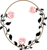 Oval frame with the three roses Stock Image