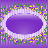 Oval Frame With Violets Royalty Free Stock Photography