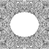 Oval Frame zentangle. Coloring page on white Stock Photography