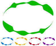 Oval frames - borders in five colors. Colorful design elements. Stock Photo