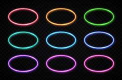 Oval frames collection. Circle chrome background. Colorful glowing round logo set on transparent background. Neon banners design for internet web usage flyer royalty free illustration
