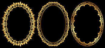 Oval frames. Set of gold oval frames Royalty Free Stock Images