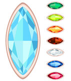 Oval gemstone set Royalty Free Stock Image